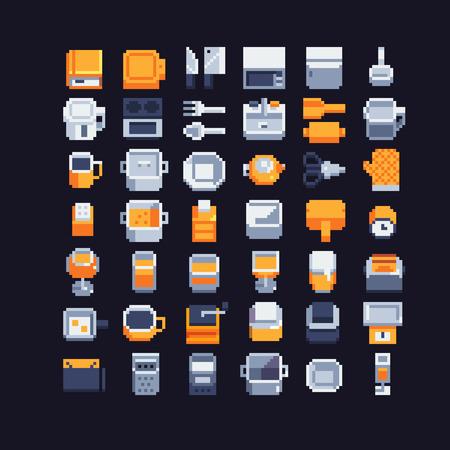 Kitchen utensils pixel art icons set, vector illustrations.
