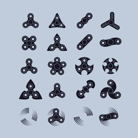 Various fidget spinners silhouette icons set.