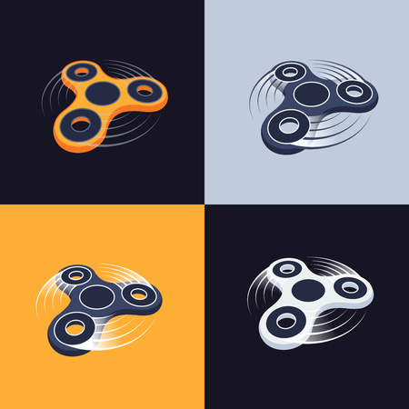 fidget spinner logos set. perspective view vector icons.