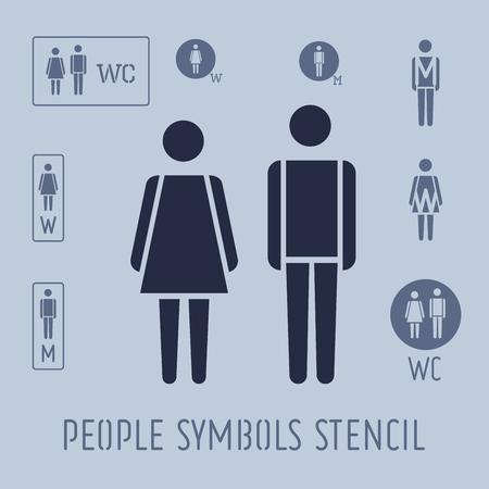 사람들이 그림 화장실, 여성 및 남성 스텐실 아이콘을 설정합니다.