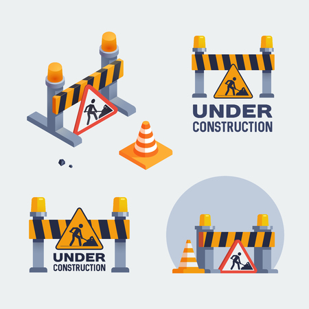 Under construction set, badges illustrations.