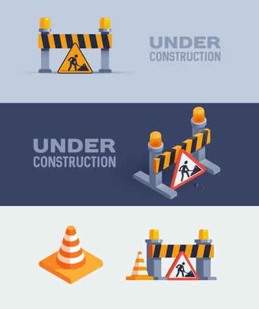 Under construction web banners, illustrations set Illustration