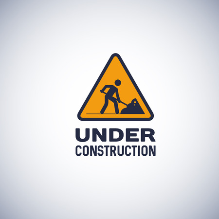 Under construction sign, isolated icon. yellow color triangular shape sign