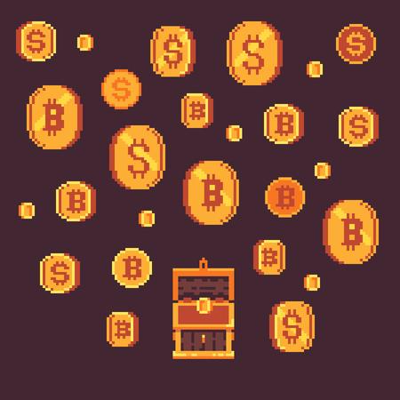 Bitcoin 및 오픈 가슴, 픽셀 아트 벡터 일러스트와 함께 황금 동전.