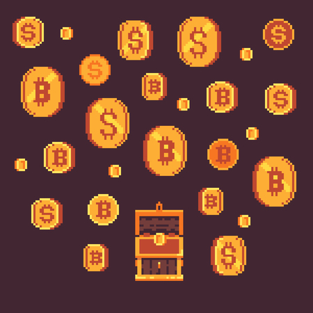 Bitcoin and golden coins with open chest, pixel art vector illustration. Illustration