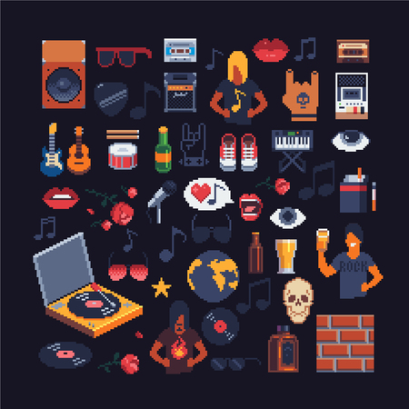 Set of music theme accessories pixel art. Иллюстрация