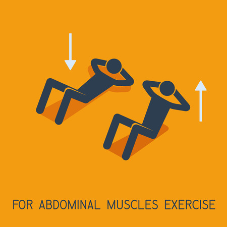 Abdominal muscles exercises man symbol, vector illustration icon.