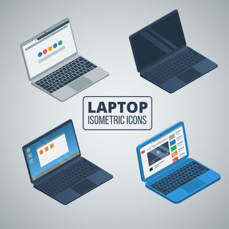 open laptop isometric icons set. vector illustrations. Illustration