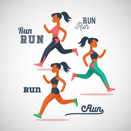 running girls marathon, cartoon flat characters vector illustration. Illustration