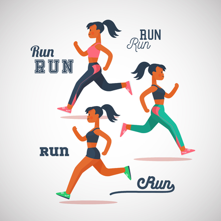 running girls marathon, cartoon flat characters vector illustration. Иллюстрация