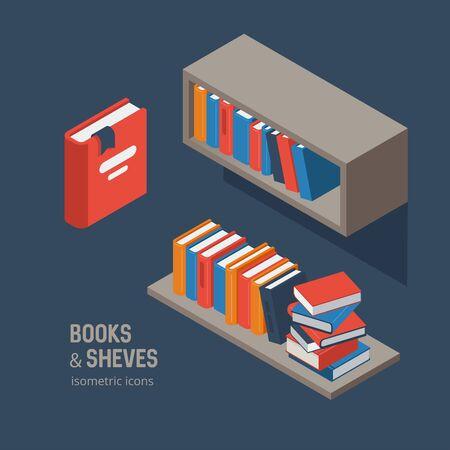 Book shelves icon set, isometric vector illustration Illustration