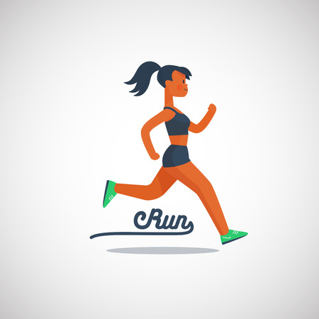running girl character with ponytail hairstyle, vector illustration logo. Иллюстрация
