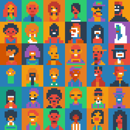 Pixel art people characters set, various ages and generations, vector illustrations. Illustration