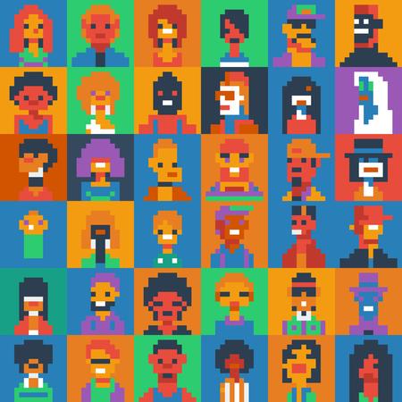 Pixel art people characters set, various ages and generations, vector illustrations. Иллюстрация