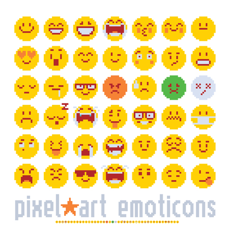emoticon with various emotions cute faces, pixel art style icons set. colorful vector graphicillustrations isolated on white background.