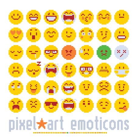 이모티콘 다양 한 감정 귀여운 얼굴, 픽셀 아트 스타일 아이콘을 설정합니다. 다채로운 벡터 그래픽 흰색 배경에 고립입니다.