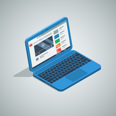 blue color netbook laptop isometric icon. vector illustration.