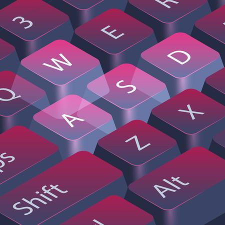 컴퓨터 게이머 키보드, 근접 촬영 강조 표시 WASD 키, 벡터 추상 기술 스타일 배경입니다.