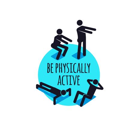 육체적으로 활성 아이콘, 스포티 한 사람들이 기호 집합.