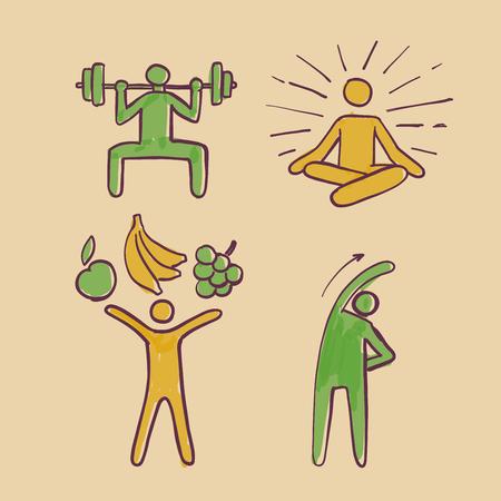 Healthy people sign symbols set, hand drawn vector illustration doodles. Иллюстрация