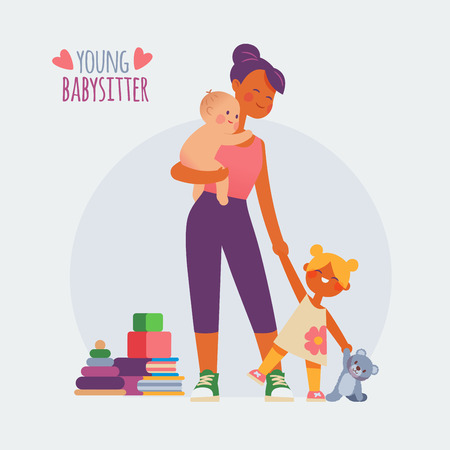 Babysitter with baby and a girl Illustration