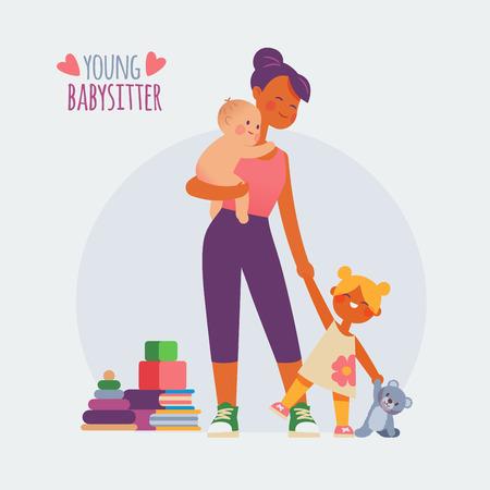 Niñera con bebé y una niña Ilustración de vector