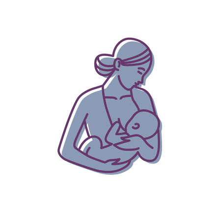 breastfeeding, mother and baby logo. vector motherhood icon