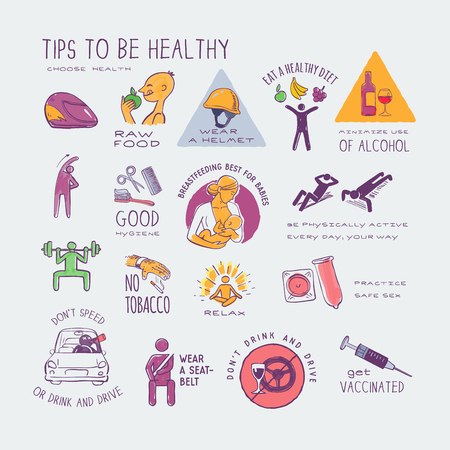 healthy live style, colorful hand drawn icons set, isolated vector illustrations emblems.