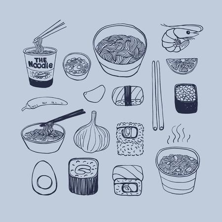 Asian cuisine, hand drawn doodles style vector icons set. Иллюстрация