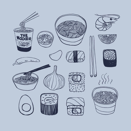 Asian cuisine, hand drawn doodles style vector icons set. Illustration