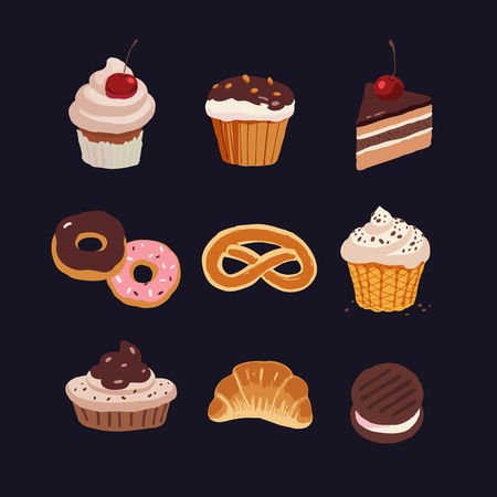 bakery icons set, various sweets bakery products, hand drawn style colorful vector illustration, isolated on a blue color background.