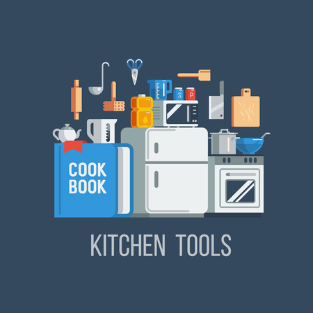 Kitchen tools and items icons, vector illustration flat style set. Иллюстрация
