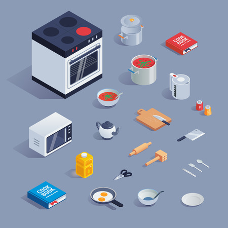 Colorful set with kitchen tools and kitchenware flat style icons set. Illustration