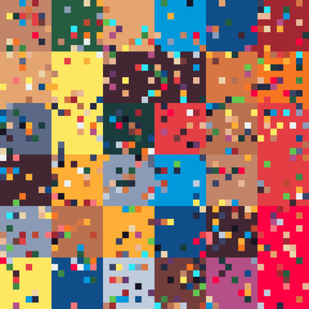 pixel art glitched, geometric abstract abstract background. seamless pattern. Иллюстрация