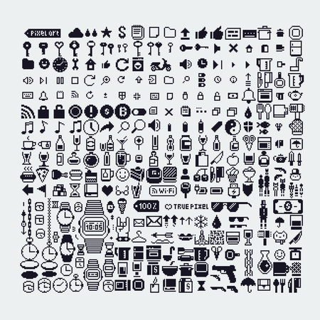 pixel art style icons set, various vector illustrations. Illustration