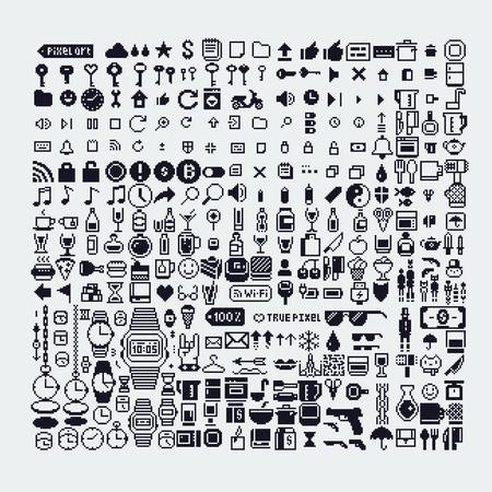 pixel art style icons set, various vector illustrations. Иллюстрация
