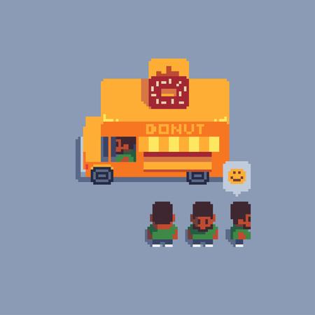 pixel art icons set, vector illustration.