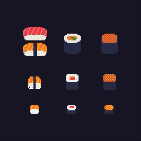 Sushi and rolls pixel art icons set Иллюстрация