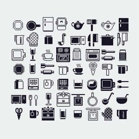 Set of dishes pixel art icons set.