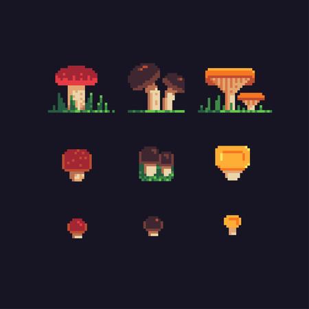 mushrooms pixel art icons set, vector illustration. Illustration