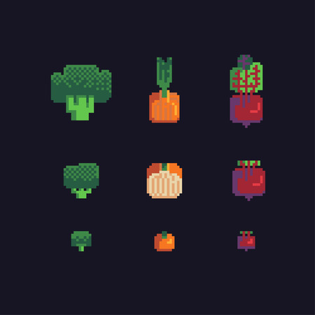 broccoli, onions and beets pixel art icons set