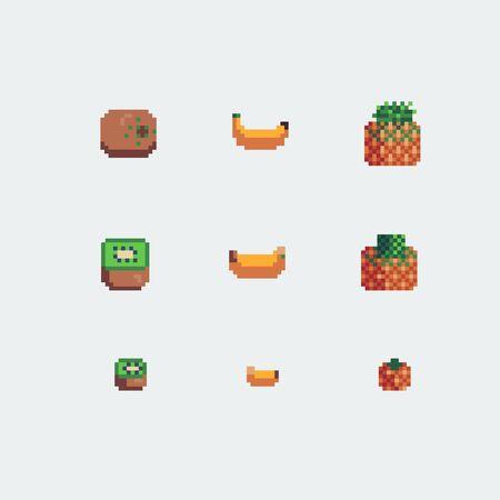 kiwi, banana and pineapple fruits icons, pixel art style vector illustration.