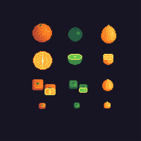 orange, lime and lemon pixel art icons set, vector illustration. Иллюстрация