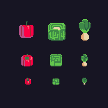 Bulgarian pepper, cabbage and turnip pixel art icons set, vector illustration.