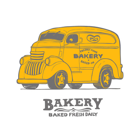 Bakery food truck hand draw doodles style van Illustration