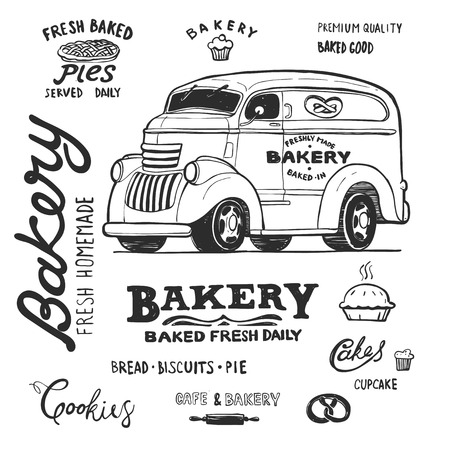 bakery food truck, hand draw doodles style van, vector coloring illustration