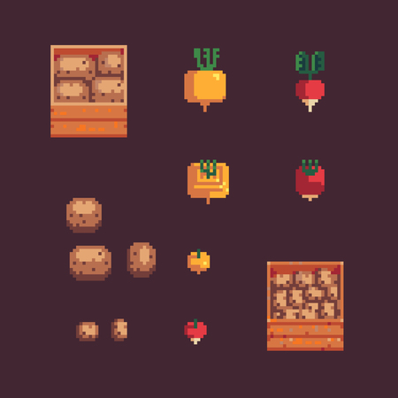 Set of potato, turnip, radish and wooden box in pixel art style vector isolated on background
