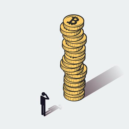 Bitcoins cryptocurrency 기호 남자 벡터 일러스트 레이션