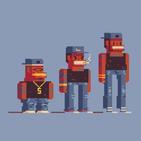 gangsta rap stars characters, pixel art style vector set