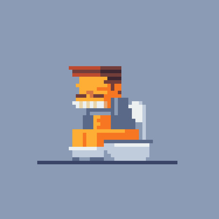man sitting on a toilet bowl and suffering from diarrhea, pixel art style character vector